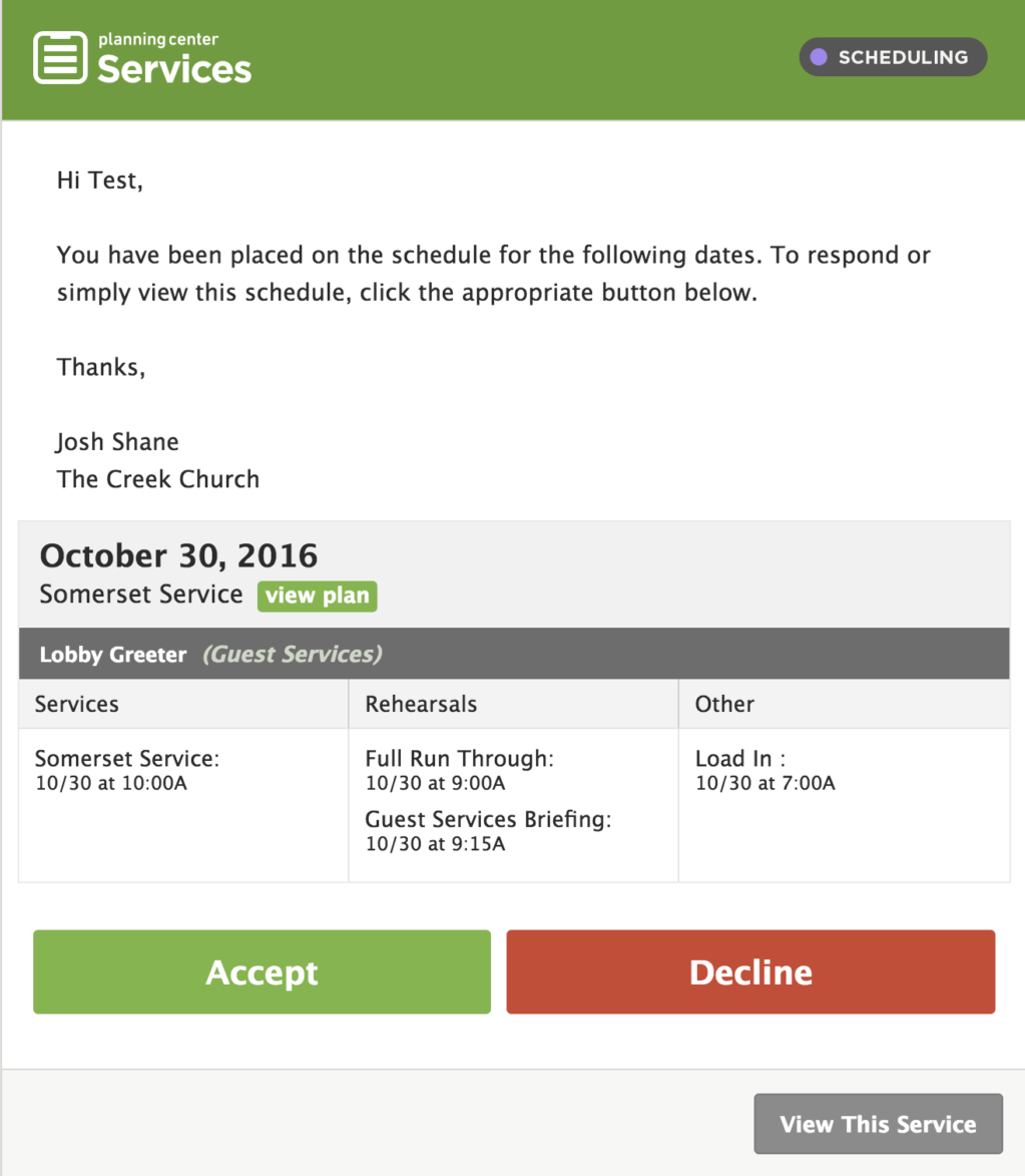 Scheduling the creek church there is also the option to be notified by text message if that works better for you let your team leader know if you would like to have this feature setup freerunsca Images